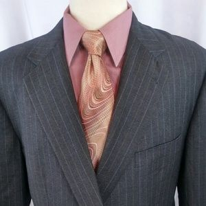 Burberry London Suit 46R Charcoal\Pinstripes 2btn